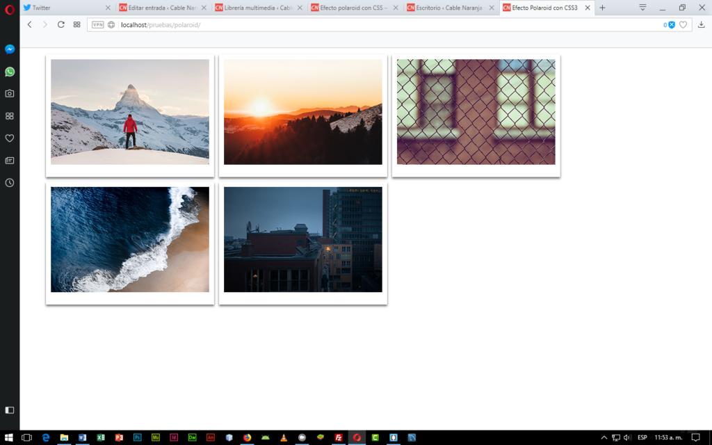 Efecto Polaroid CSS3 en CableNaranja, Parte 4
