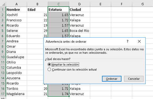 Ordenando datos en Excel - CableNaranja