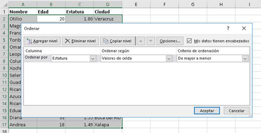 Ordenando datos con más criterios - CableNaranja