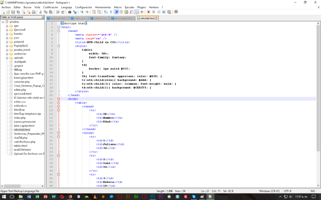 Editor Notepad++ en CableNaranja