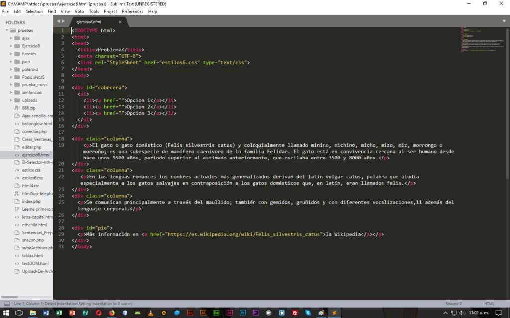 Sublime Text editor en CableNaranja