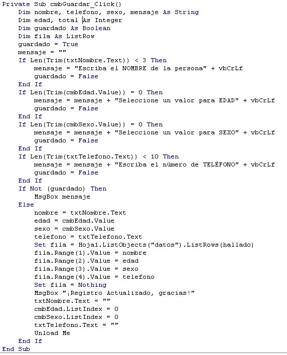 Como crear un CRUD en Excel con VBA