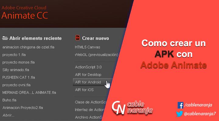 Como crear un APK con Adobe Animate
